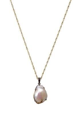 Saff Doğal Taş Inci Doğal Taş Gümüş Kolye 210401