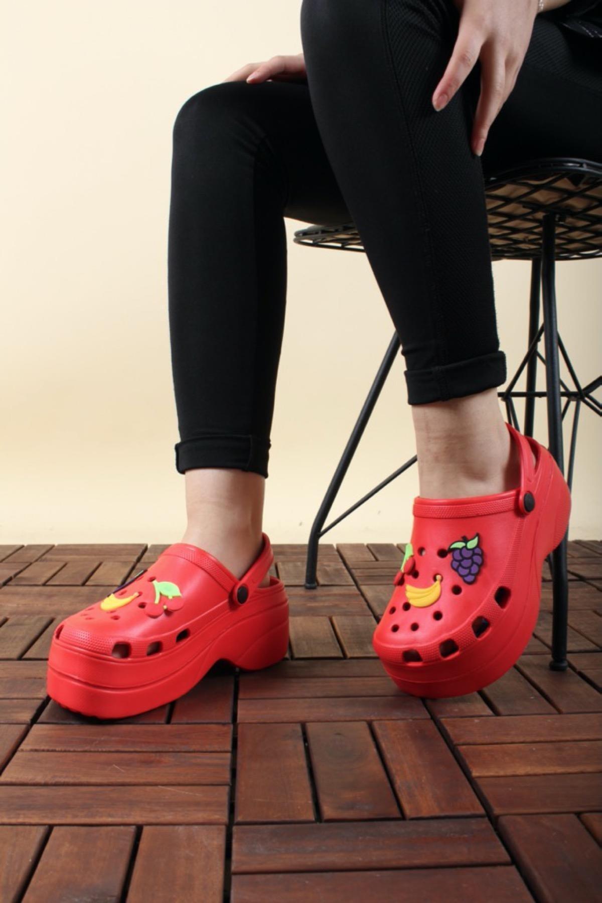 Oksit Giyim Toya Desenli Hafif Kadın Sandalet