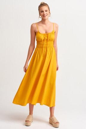 Dilvin 9075 Beli Büzgülü Askılı Elbise-oranj