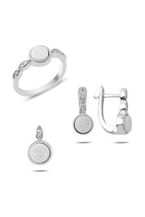 Silverella Gümüş 925 Ayar Beyaz Druzy Taşlı Set