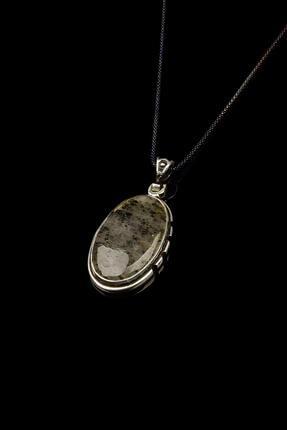 Saff Doğal Taş Labradorit Taşı Gümüş Kolye 209050