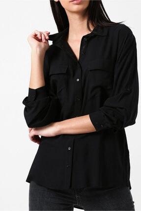 Random Siyah Çift Cepli Uzun Kollu Gömlek
