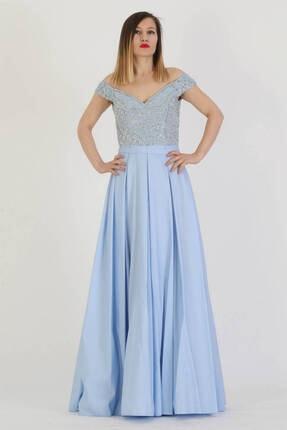 Günay Giyim Kadın Mavi Askılı Abiye Elbise 17330010100404
