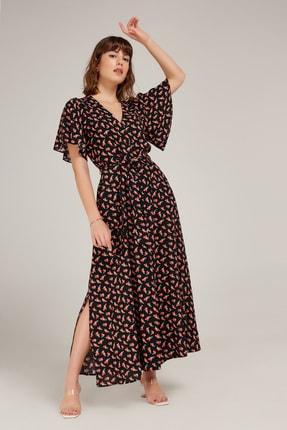 Kadın Siyah Çiçek Desenli Viskon Elbise ED20EL0003SIYAH