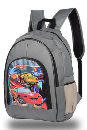 NK Araba Desenli Gri Okul Sırt Çantası