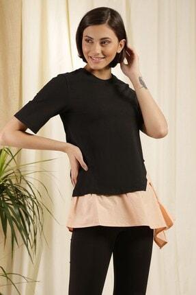 Zindi Kadın Asimetrikt-shirt Somon