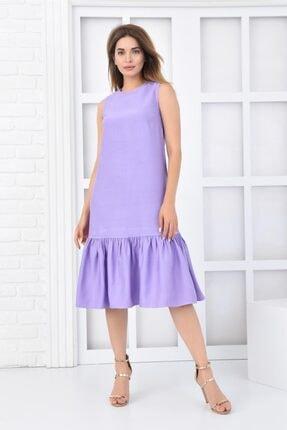 İroni Büzgülü Midi Lila Keten Elbise