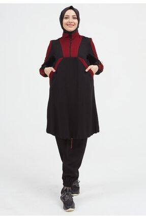 Setrms Kadın Siyah Ucu Büzgülü Dik Yaka Takım