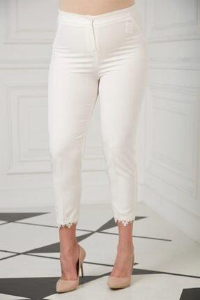 Rmg Kadın Beyaz Paça Dantel Detaylı Büyük Beden  Pantolon