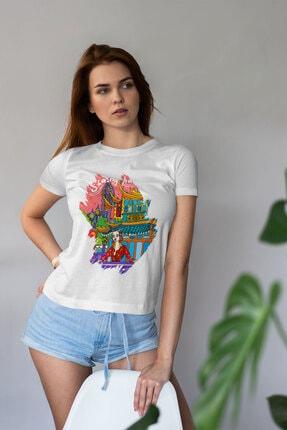 Deriderim Kadın Shanghai Şehir Desen Baskılı Tişört