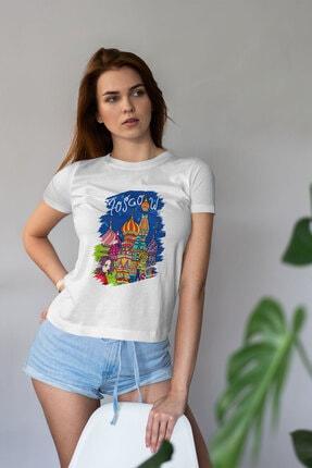 Deriderim Kadın Moskova Şehir Desen Baskılı T-shirt
