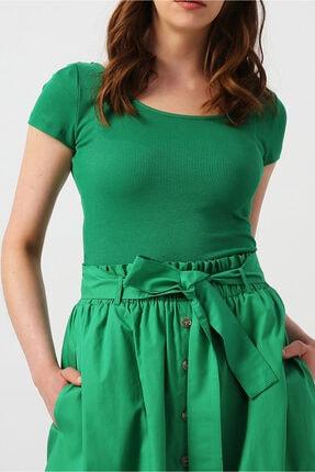 Random Kadın Yeşil Yuvarlak Yakalı Kısa Kollu Basic Bluz