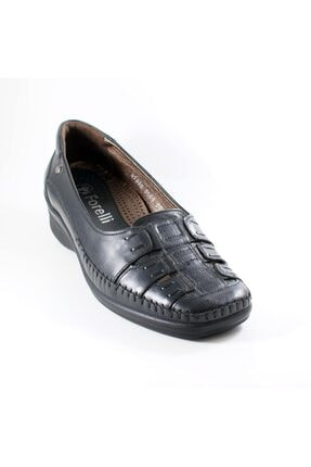 Forelli 5086 Kadın Siyah  Deri Ortopedik Ayakkabı