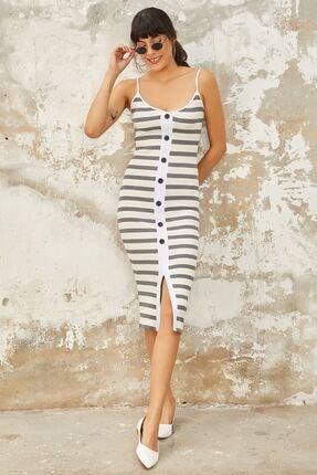 Mispacoz Ön Full Düğme Elbise - Beyaz