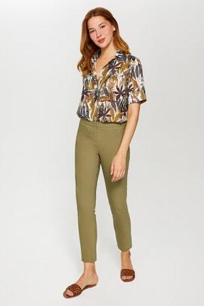 Faik Sönmez Kadın Açık Haki Slim Fit Klasik Pantolon 60058 U60058