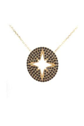 Nusret Takı 925 Ayar Gümüş Siyah Taşlı Kuzey Yıldızı Kolye