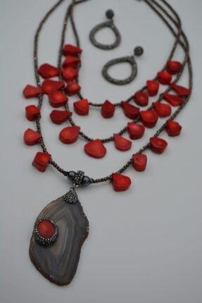 Stoneage Kadın Kırmızı Doğal Taşlı Akik Mercan Hematit Kolye Küpe Seti