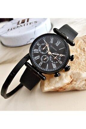 Homies Kadın Siyah Kol Saati + Çelik Bileklik