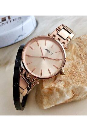 Homies Kadın Bakır Kol Saati + Çelik Bileklik