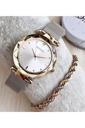 Homies Kadın Gümüş  Kol Saati + Çelik Bileklik