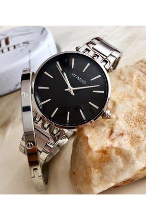 Homies Kadın Gümüş Siyah Kol Saati + Çelik Bileklik