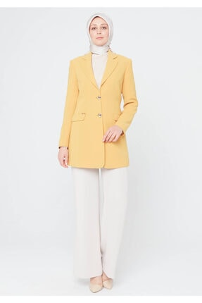 Setrms Kadın Safran Kelebek Yaka Blazer Ceket