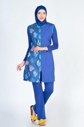 ALFASA Kadın Mavi Desenli Yelekli Pantolonlu Tesettür Mayo AF18YMY00011