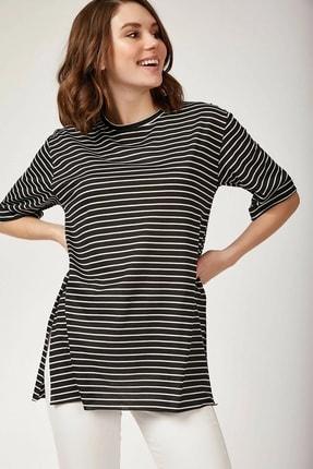 Bigdart Kadın Siyah Çizgili Yanı Yırtmaçlı T-shirt 0392