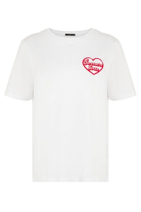 XINT Kadın Beyaz Rahat Kesim Baskılı Tişört