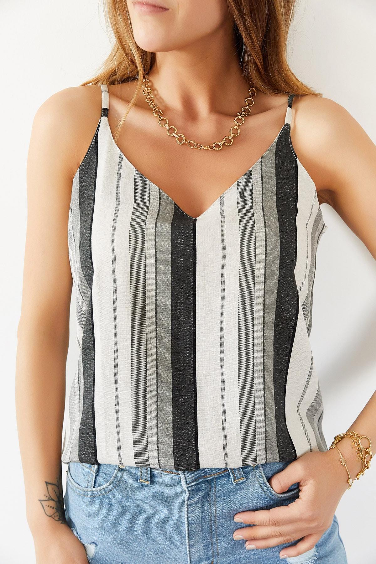 Xhan Kadın Gri & Beyaz Çizgili Askılı Bluz 0YXK2-43932-03 8699443932031