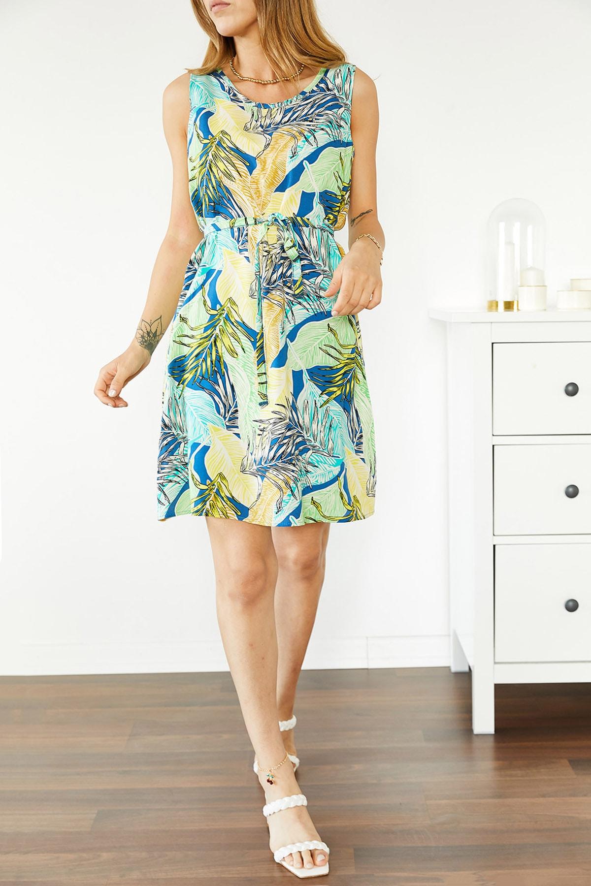 Xhan Kadın Multi Çiçek Desenli Kolsuz Elbise 0YXK6-43854-13 8699443854131