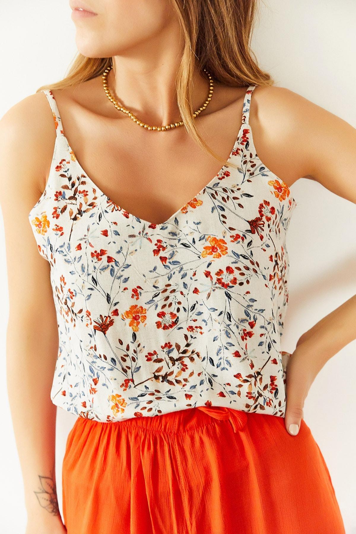 Xhan Kadın Multi İp Askılı Çiçek Desenli Bluz 0YXK2-43901-52 8699443901521