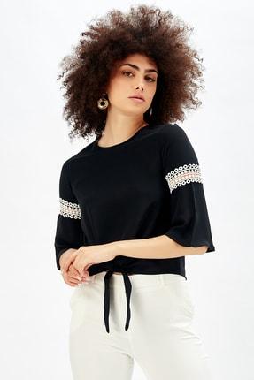 Sense Kadın Siyah Kolları Dantelli Bluz