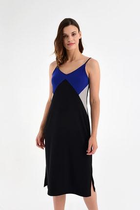 Laranor Kadın Sax-Siyah Ayarlanabilir Askılı Yırtmaç Detaylı Elbise 20L6802