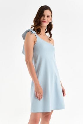 Laranor Kadın Buz Mavi Tek Omuzdan Bağlamalı Elbise 20L6804