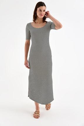 Laranor Kadın Siyah-Krem Yırtmaç Detay Balerin Yaka Elbise 19L6787