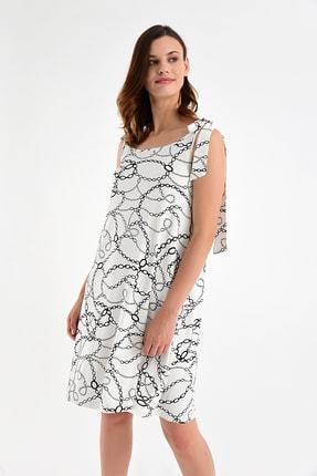 Laranor Kadın Desen-2 Omuzdan Bağlamalı Desenli Elbise 20L6839