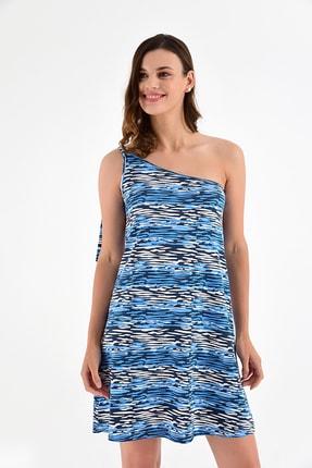 Laranor Kadın Desen-2 Tek Omuzdan Bağlamalı Desenli Elbise 20L6844