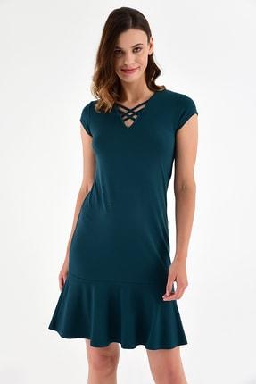 Laranor Kadın Yeşil Yaka Detay Etek Ucu Volanlı Elbise 20L6810