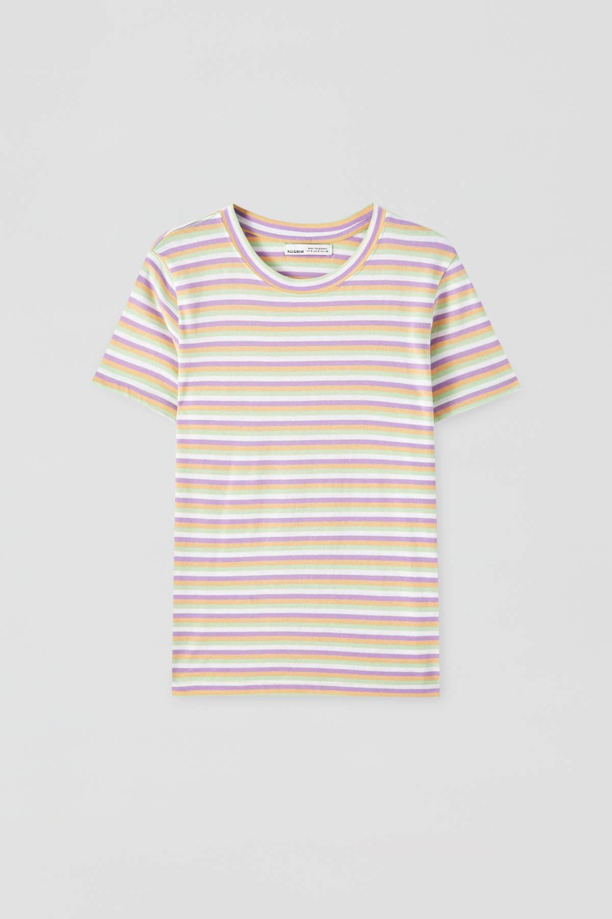 Pull & Bear Kadın Violet Yatay Çizgili Basic T-Shirt 05236353