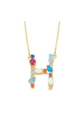 LUZDEMIA Kadın Çok Renkli Opal Initial H Harfi Kolye