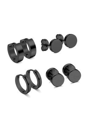 Chavin Siyah Çelik 4 Takım Erkek Küpe dy99