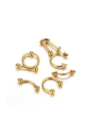 Chavin Gold Bayan Erkek Çelik Kaş Burun Kulak Çene Piercing ec83sr