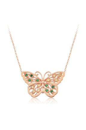VAOOV Kadın Yeşil 925 Ayar Gümüş Kelebek Kolye