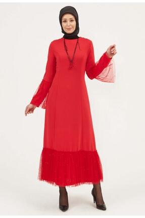 Setrms Kadın Kırmızı Uzun Kollu Tül Detaylı Krep Elbise