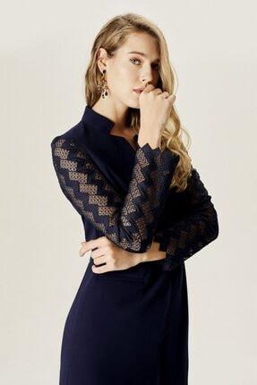 Naramaxx Kadın Lacivert Dantelli Klasik Ceket