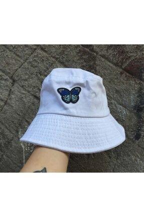 Köstebek Unisex Beyaz Kelebek Bucket Şapka