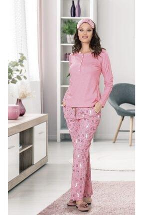 Jiber Kadın Pembe Uzun Kollu Pijama Takımı