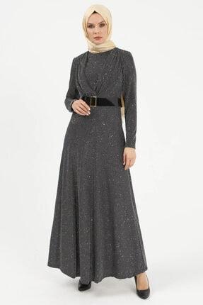 Setrms Işıltılı Kruvaze Yaka Detaylı Kemerli Elbise