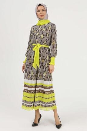 Setrms Şifon Desenli Neon Elbise